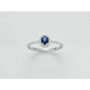 Anello donna in oro bianco 18 kt zaffiro blu e diamanti firmato Miluna