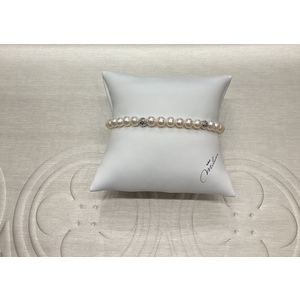 Bracciale donna con perle originali Miluna e sfere in oro bianco