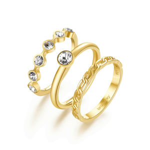 Tris anelli donna Brosway Symphonia in acciaio dorato BYM92C