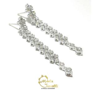 Orecchini lungi di diamanti Recarlo collezione Face Round