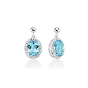 Orecchini pendenti donna in argento Miluna gemma del cielo con topazio azzurro naturale