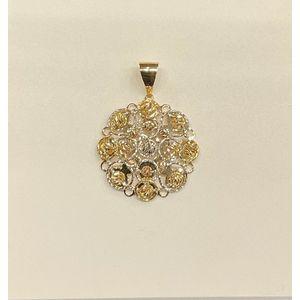 Pendente donna in oro giallo, oro bianco e oro rosa 18 kt effetto diamantato