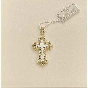Pendente croce donna in oro 18 kt traforato effetto diamantato