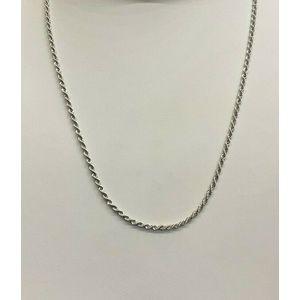 Collana oro bianco 18 kt modello laser, corda, laccio sottile unisex cm 45