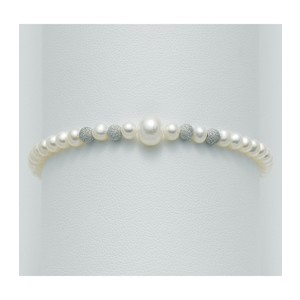 Bracciale con perle e sfere in oro 18 kt  effetto diamantato Miluna