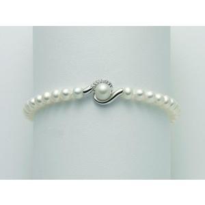 Bracciale con perle originali e diamanti Miluna