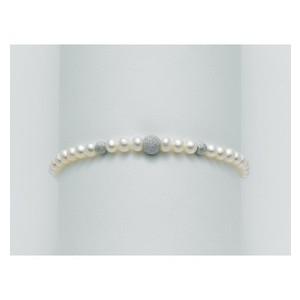 Bracciale Miluna con perle e sfere in oro bianco 18 kt effetto diamantato