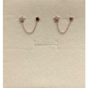 Orecchini donna con stelle a due buchi ad ogni lobo in oro rosa 18 kt e zirconi