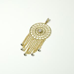 Pendente donna in oro giallo 18 kt con piccole sfere in oro bianco