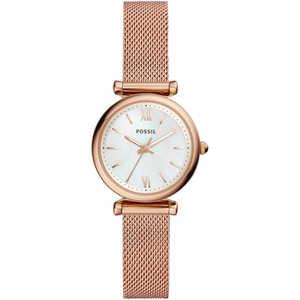 orologio donna in acciaio rosa con cinturino maglia milano Fossil Carlie ES4433