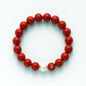 """Bracciale in pasta di corallo rosso con perla  Miluna """"Terra e mare"""" PBR1800"""