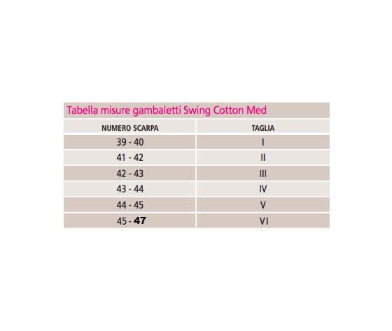 Misure swing cotton med tabella