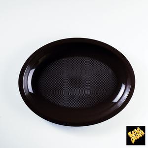 Piatto ovale nero 25cm 600cc - 600pz