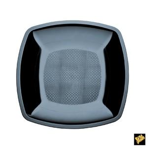 Piatto piano quadrato nero 23cm 500cc - 300pz