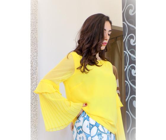 Blusa gialla con maniche a sbuffo camilla 2