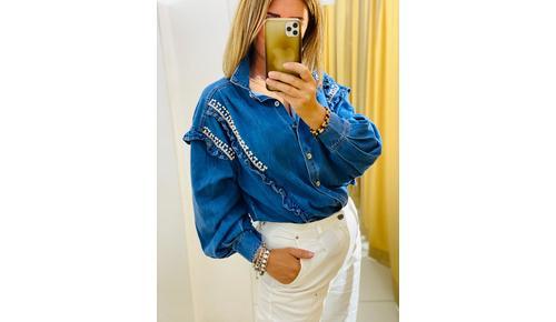 camicia jeans con strass