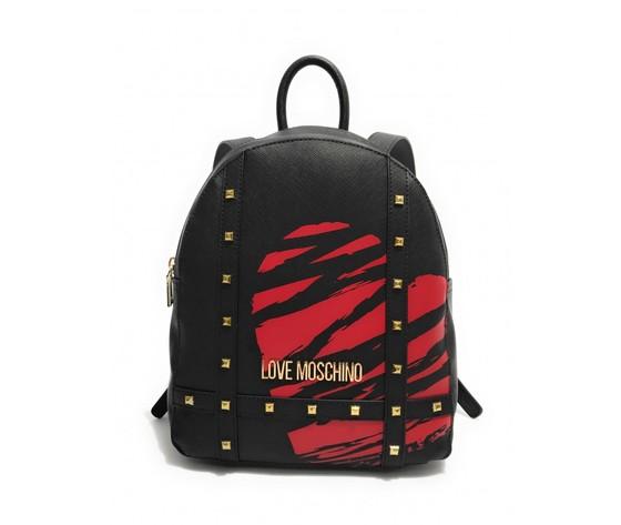 Borsa donna love moschino zaino ecopelle nero stampa rosso bs21mo57 jc4077