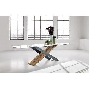 TAVOLO X NATURE DESIGN Base in metallo e legno secolare