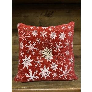 cuscino natalizio 45x45 con bottone centrale in legno fiocco di neve
