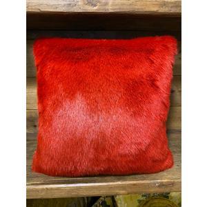 Cuscino in ecopelliccia rossa