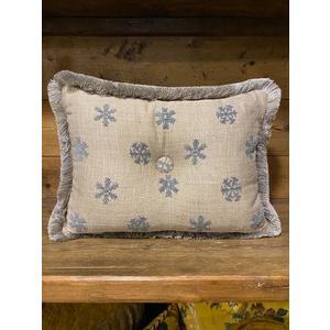 Cuscino in misto lino con fiocchi di neve