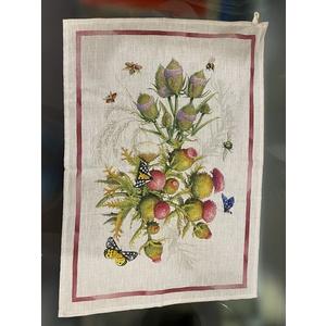 canovaccio in lino fantasia floreale e farfalle
