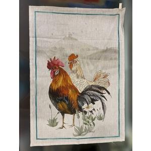 Canovaccio in lino fantasia gallo e gallina