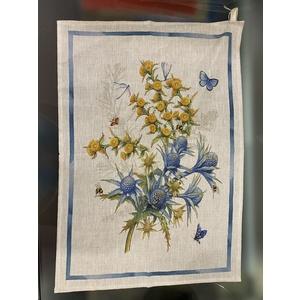 Canovaccio fantasia floreale gialla e blu