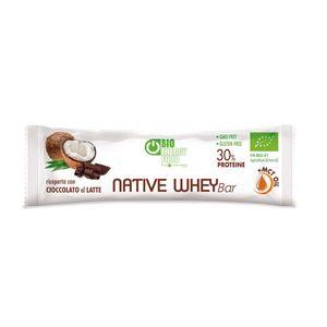 Barretta proteica al cocco ricoperta di cioccolato al latte