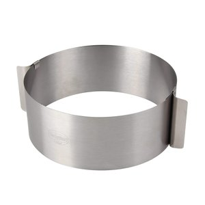 Anello torte tondo regolabile in acciaio inox per dolci freddi. Regolabile da 16 a 30 cm