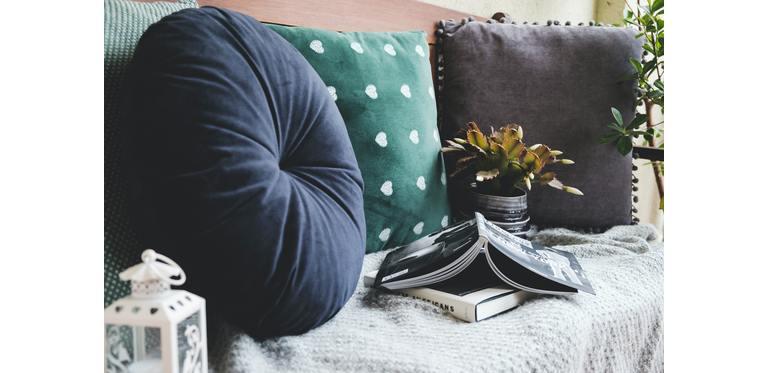 Throw pillows beside books 2396108