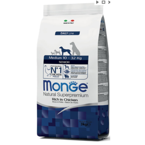 MONGE MEDIUM 10-32KG SENIOR 12 KG AL POLLO
