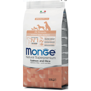 MONGE ALL BREEDS PUPPY JUNIOR SALMONE RISO 2,5 KG