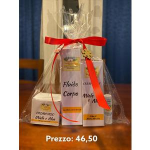 crema viso (miele e aloe o miele e camomilla ) insieme a fluido corpo o( uno dei 3 shampoo ) insieme a crema mani e stick a scelta tra i 3 al miele  insieme a uno  stick