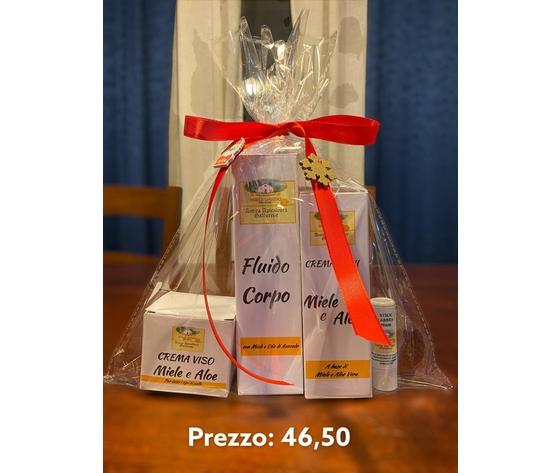 Crema viso %28miele e aloe o miele e camomilla %29 insieme a fluido corpo o%28 uno dei 3 shampoo %29 insieme a crema mani e stick a scelta tra i 3