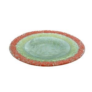 Piatto tondo in vetro colorato con fondo in trasparenza da 6mm