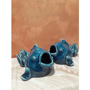 Pesce blu in ceramica