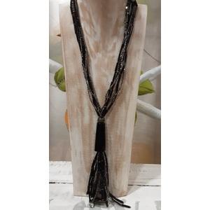 Collana nero grigio perline metallo
