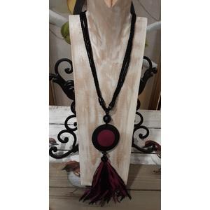 collana nero viola perline pelle