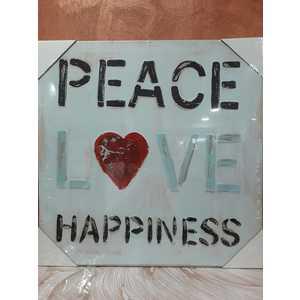 QUADRO SCRITTA PEACE LOVE HAPPINESS