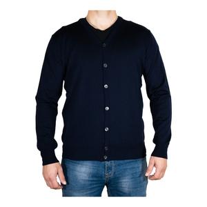Cardigan in lana merinos blu navy