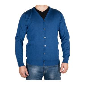 Cardigan in lana merinos blu Denim