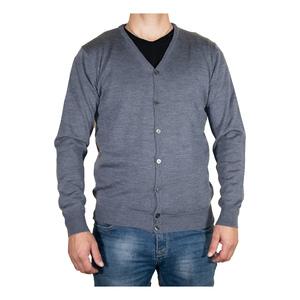 cardigan  in lana merinos grigio