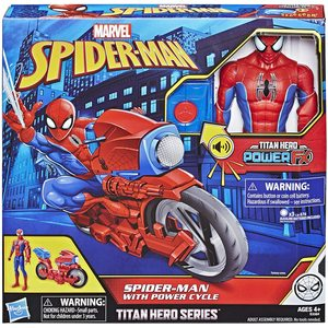 Spider Man Personaggio 30 cm Titan Power con Moto