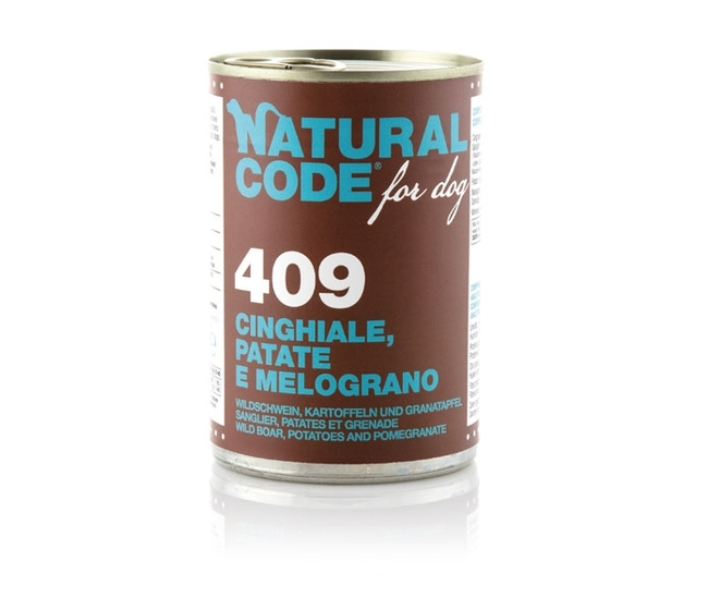 NATURAL CODE for DOG 409 cinghiale, patate e melograno 400 gr