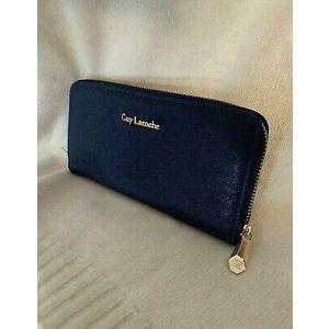 portafoglio guy laroche portafoglio donna eco pelle blu 20 X 10 cm originale