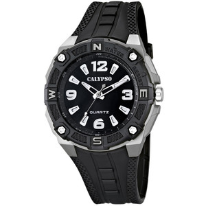 Calypso orologio solo tempo uomo  Versatil For Man GOMMA NERO CON INSERTI GRIGIO REF. 5634/1