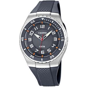 Calypso orologio solo tempo uomo  Versatil GOMMA CON CASSA ACCIAIO E INSERTI GRIGIO ARANCIO For Man K6063/1