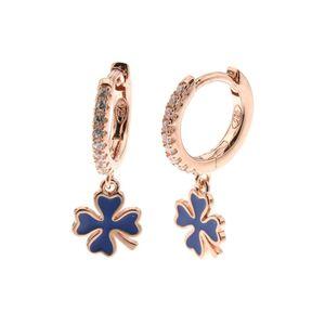 Orecchini in Argento 925 cerchietti con zirconi bianchi con pendenti a forma di quadrifoglio smaltati blu - 1103929