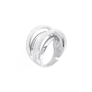 Anello in Argento 925 multifilo impreziosito da zirconi bianchi - 1501990